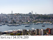 Skyline of Istanbul, as seen from Galata Turm. View of the Suleymaniye Mosque (2020). City of Istanbul, Turkey. Стоковое фото, фотограф Bala-Kate / Фотобанк Лори
