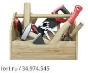 A wooden toolbox containing with ax, chisel, pliers, mallet, hammer, screwdriver, wrench, saw and wire cutters - front view. Стоковая иллюстрация, иллюстратор Маринченко Александр / Фотобанк Лори