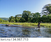 Rio Grande Rafting, Portland Parish, Jamaica. Редакционное фото, фотограф Karol Kozlowski / age Fotostock / Фотобанк Лори