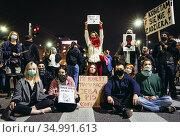 Warsaw, Poland - October 26, 2020: Young people blocked the streets... Редакционное фото, фотограф Konrad Zelazowski / age Fotostock / Фотобанк Лори