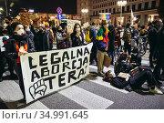 Warsaw, Poland - October 26, 2020: Legal abortion now - people blocked... Редакционное фото, фотограф Konrad Zelazowski / age Fotostock / Фотобанк Лори