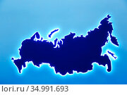 Silhouette Contour Border Map of the State of Russia on a blue Background with Copy space. Стоковое фото, фотограф Светлана Евграфова / Фотобанк Лори