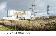Oldbury nuclear power station, now disused, sited on Severn Estuary at Olbury-on-Severn near Bristol, UK, March 2020, Стоковое фото, фотограф John Waters / Nature Picture Library / Фотобанк Лори