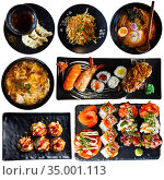 Collage of tasty Japanese dishes on white background. Стоковое фото, фотограф Яков Филимонов / Фотобанк Лори