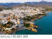Aerial view of Spanish tourist city of Nerja on Mediterranean coast. Стоковое фото, фотограф Яков Филимонов / Фотобанк Лори