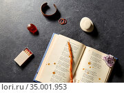 magic book, wax candle, matches and gem stones. Стоковое фото, фотограф Syda Productions / Фотобанк Лори