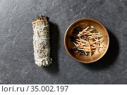 white sage and cup with burnt matches. Стоковое фото, фотограф Syda Productions / Фотобанк Лори