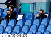 Ryan Friedkin owner of AS Roma club with broteher Danny in the stands... Редакционное фото, фотограф Federico Proietti / Sync / AGF/Federico Proietti / / age Fotostock / Фотобанк Лори