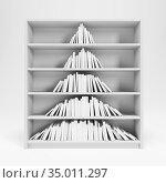 Christmas tree from books on the shelf, 3d rendering. Стоковая иллюстрация, иллюстратор Дмитрий Кутлаев / Фотобанк Лори