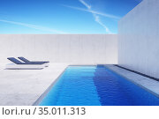 Luxury modern backyard with a swimming pool, 3d rendering. Стоковая иллюстрация, иллюстратор Дмитрий Кутлаев / Фотобанк Лори