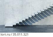 Modern staircase in concrete interior, 3d rendering. Стоковая иллюстрация, иллюстратор Дмитрий Кутлаев / Фотобанк Лори