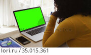 Rear view of african american woman looking at laptop with green screen while working from home. Стоковое видео, агентство Wavebreak Media / Фотобанк Лори