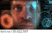 Behind the scene of visual effects making of astronaut GUI, holographic CGI screen. Стоковое видео, видеограф Dzmitry Astapkovich / Фотобанк Лори