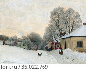 Torna Oscar - Vinterdag - Medevi - Swedish School - 19th Century. Редакционное фото, фотограф Artepics / age Fotostock / Фотобанк Лори