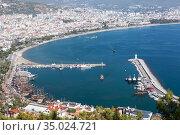 Top view at the Alanya city and port. Panoramic view, Antalya province, Turkey. Стоковое фото, фотограф Кекяляйнен Андрей / Фотобанк Лори