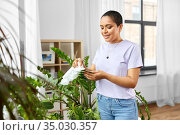 happy african american woman cleaning houseplant. Стоковое фото, фотограф Syda Productions / Фотобанк Лори