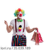 Funny clown with shopping bags isolated on white background. Стоковое фото, фотограф Elnur / Фотобанк Лори