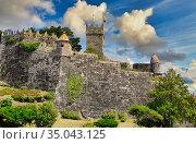 Monterreal castle, Baiona, Pontevedra, Galicia, Spain. Стоковое фото, фотограф Javier Larrea / age Fotostock / Фотобанк Лори