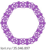 Flower frame in linear sketch style for florist shops, organic cosmetics, wedding. Emblem design template with copy space for text, flowers background in violet colours. Vector. Стоковая иллюстрация, иллюстратор Dmitry Domashenko / Фотобанк Лори