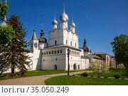 Rostov Kremlin, Resurrection Church (2019 год). Редакционное фото, фотограф Юлия Бабкина / Фотобанк Лори