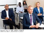 international group of businessmen at world training courses. Стоковое фото, фотограф Яков Филимонов / Фотобанк Лори