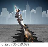 Businessman flying on rocket from rock gap. Стоковое фото, фотограф Elnur / Фотобанк Лори