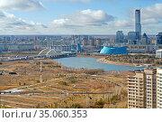 Presidential park and Ishim river in late autumn. Nur Sultan, Kazakhstan (2009 год). Стоковое фото, фотограф Валерия Попова / Фотобанк Лори