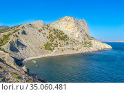Panoramic landscape with Black Sea shore near Noviy Svet resort. Crimean peninsula (2020 год). Стоковое фото, фотограф Григорий Стоякин / Фотобанк Лори