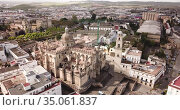 Aerial panoramic view of Jerez de la Frontera cityscape with Cathedral of Holy Saviour and Moorish alcazar, Spain. Стоковое видео, видеограф Яков Филимонов / Фотобанк Лори