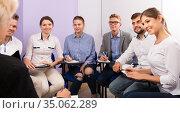 Portrait of positive students participants on training session. Стоковое фото, фотограф Яков Филимонов / Фотобанк Лори