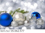 Group of blue and silver Christmas balls. Стоковое фото, фотограф Юлия Бабкина / Фотобанк Лори