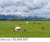 Traditional yurt the Alaj valley in the Pamir Mountains, Asia, Central... Стоковое фото, фотограф Martin Zwick / age Fotostock / Фотобанк Лори
