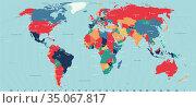 Vector Timezone world map. Стоковая иллюстрация, иллюстратор Jan Jack Russo Media / Фотобанк Лори
