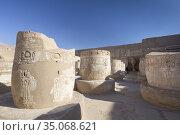 Ruins of the great hypostyle hall, Medinat Habu temple, Luxor, Egypt. Стоковое фото, фотограф Stefano Baldini / age Fotostock / Фотобанк Лори