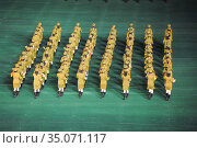 Pyongyang, North Korea, military band plays brass music at the Arirang festival and mass games (2012 год). Редакционное фото, агентство Caro Photoagency / Фотобанк Лори