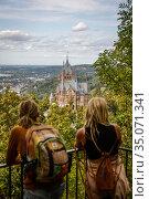Drachenburg on the Drachenfels, Koenigswinter, North Rhine-Westphalia, Germany, Europe. Редакционное фото, агентство Caro Photoagency / Фотобанк Лори