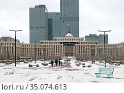 City landscape. Ministry of Defense of Kazakhstan. Nur Sultan. Редакционное фото, фотограф Валерия Попова / Фотобанк Лори