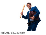 Young male employee holding baseball bat isolated on white. Стоковое фото, фотограф Elnur / Фотобанк Лори