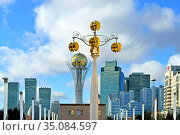 City landscape. Nurzhol Boulevard. Нур-Султан, Казахстан. Редакционное фото, фотограф Валерия Попова / Фотобанк Лори