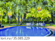 Swimming pool at Virgo Batik Resort, Teluk Batik Beach, Perak, Malaysia... Стоковое фото, фотограф Ian Cook / age Fotostock / Фотобанк Лори