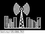 Radio tower on the background of houses. Стоковая иллюстрация, иллюстратор Сергей Антипенков / Фотобанк Лори