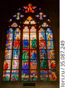 St. Vitus Cathedral, St. Ludmila Chapel Stained Glass. Стоковое фото, фотограф Юлия Бабкина / Фотобанк Лори