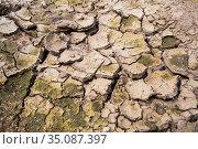 Cracked dry soil in countryside. Стоковое фото, фотограф Антон Гвоздиков / Фотобанк Лори