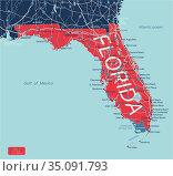 Florida state detailed editable map. Стоковая иллюстрация, иллюстратор Jan Jack Russo Media / Фотобанк Лори