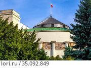 Warsaw, Mazovia / Poland - 2019/10/26: Sejm - lower house of Polish... Редакционное фото, фотограф bialorucki bernard / age Fotostock / Фотобанк Лори