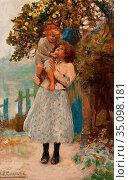Christie James Elder - the Apple - British School - 19th Century. Редакционное фото, фотограф Artepics / age Fotostock / Фотобанк Лори