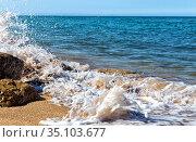 Foamy surf on a sandy tropical beach. Стоковое фото, фотограф Евгений Ткачёв / Фотобанк Лори
