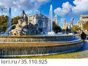 Banco de España, Calle de Alcalá, Plaza Cibeles, Madrid, Spain, Europe. Стоковое фото, фотограф Javier Larrea / age Fotostock / Фотобанк Лори