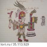 Tezcatzoncatl, Aztec Pulque God at Codex Tudela, 16th-century pictorial... Стоковое фото, фотограф Juan García Aunión / age Fotostock / Фотобанк Лори