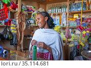 Small shop in Hawzen town, Eastern Tigray, Ethiopia. Celebration ... (2020 год). Редакционное фото, фотограф Sergi Reboredo / age Fotostock / Фотобанк Лори